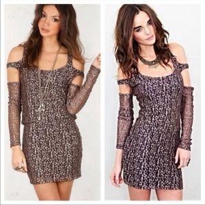 NWT Nightcap by Carisa Rene Metallic Cheetah Dress